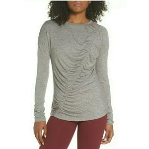 Zella So Graceful Gray Ruched Long Sleeve Tee